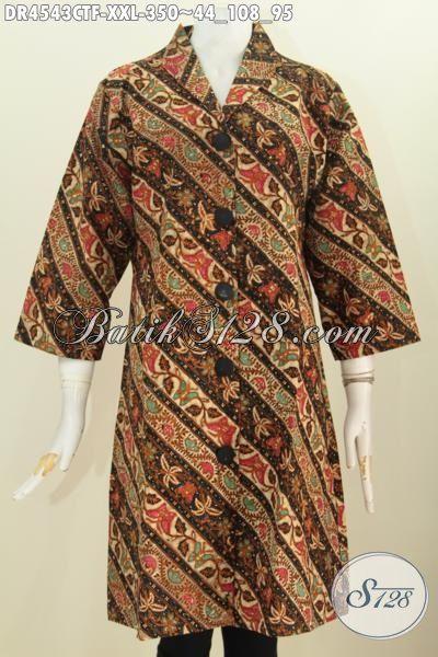 Dress Batik Parang Bunga Model Kerah Langsung, Busana Batik Jawa Etnik Kwalitas Premium Berbahan Adem Proses Kombinasi Tulis modis Buat Kondangan Dan Rapat, Size XXL