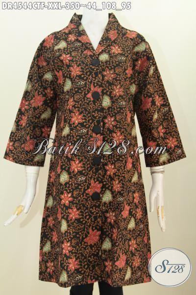 Jual Online Dress Batik Kombinasi Tulis Motif Bunga, Baju Batik Kwalitas Premium Berbahan Halus Model Kerah Langsung Edisi Spesial Untuk Wanita Gemuk, Size XXL