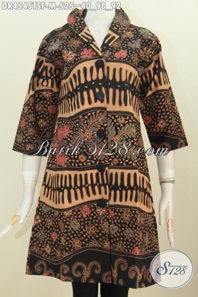 Baju Batik Wanita Muda Karir Sukses Berbahan Batik Tulis Soga Premium Untuk Penampilan Lebih Mewah, Dress Batik Kerah Langsung Motif Berkelas Daleman Full Furing Tricot, Size M