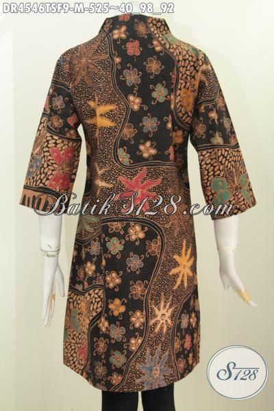 Pakaian Batik Modern Desain Mewah Motif Klasik Istimewa, Baju Dress Premium Proses Tulis Soga Daleman Pake Furing Tampil Lebih Cantik Percaya, Size M