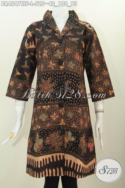 Baju Batik Kerja Wanita Muda Dan Dewasa Tampil Elegan, Dress Batik Premium 500 Ribuan Bahan Halus Tulis Soga Daleman Full Furing Terlihat Lebih Mewah, Size L