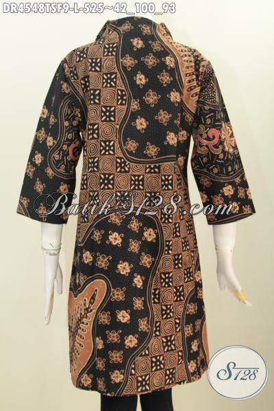 Jual Online Pakaian Batik Premium Untuk Wanita, Baju Dress Batik Modis Model Kerah Langsung Motif Bagus Tulis Soga Daleman Pake Furing, Size L