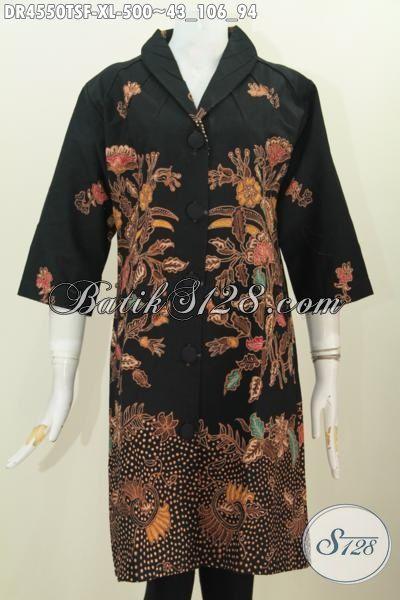 Baju Batik Mewah Dasar Hitam Proses Tulis Soga Motif Bagus Banget Trend Masa Kini, Baju Batik Wanita Dewasa Ukuran XL Daleman Full Furing Harga 525K