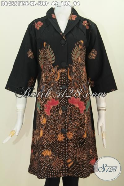 Pakaian Batik Dress Wanita Dewasa Ukuran XL, Busana Batik Premium Motif Terkini Tulis Soga Kwalitas Istimewa Dengan Daleman Pake Furing Tricot [DR4551TSF-XL]