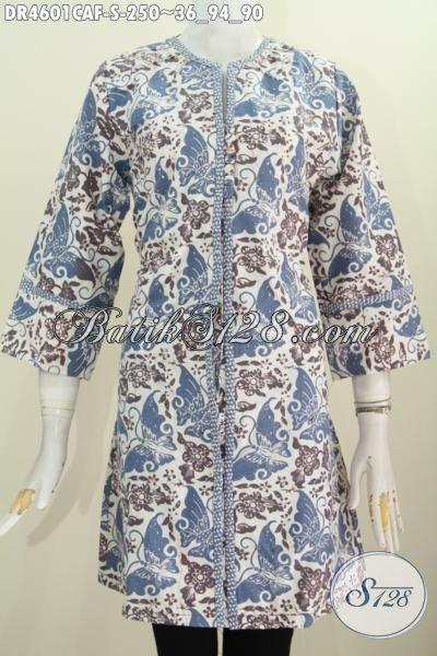 Baju Dress Batik Trendy Proses Cap Dengan Pewarna Alami, Busana Batik Solo Model Kancing Depan Berbahan Halus Motif Bagus Kwalitas Premium Full Furing [DR4601CAF-S]