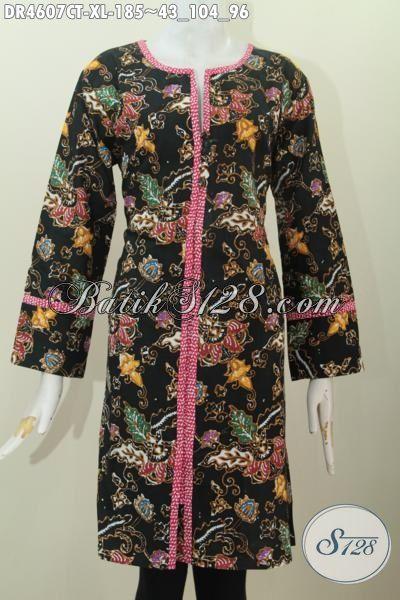 Dress Batik Kancing Depan Dasar Hitam Motif Bunga Kwalitas Bagus Proses Cap Tulis, Produk Batik Kerja Wanita Dewasa Untuk Penampilan Makin Cantik Maksimal, Size XL