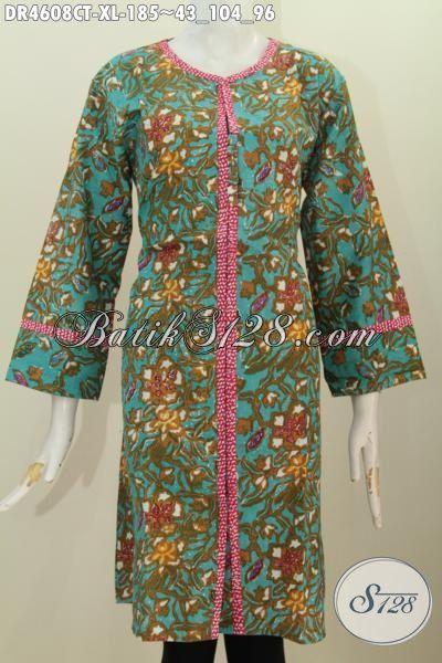 Baju Dress Istimewa Motif Mewah Buatan Solo, Pakaian Batik Modis Desain Kancing Depan Berbahan Halus Proses Cap Tulis Di Jual Online Harga 185K [DR4608CT-XL]