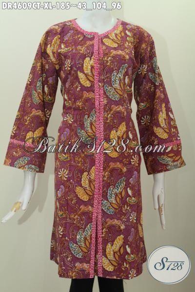 Baju Dress Batik Proses Cap Tulis, Hadir Dengan Desain Kancing Depan Motif Mewah Bahan Adem Yang Nyaman Di Pakai, Size XL