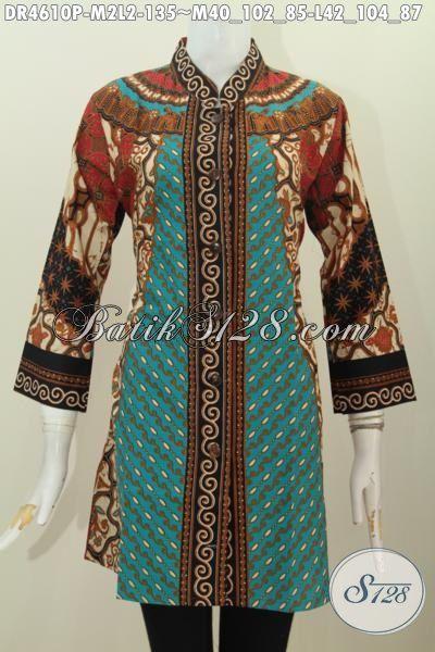 Busana Batik Elegan Motif Sinaran Proses Printing, Pakaian Batik Halus Berbahan Adem Untuk Wanita Muda Tampil Menawan Dan Rapi, Size M