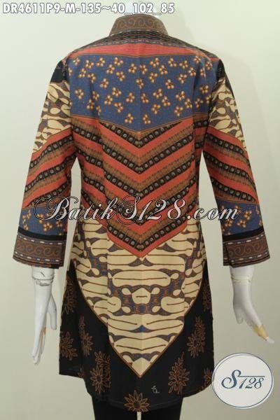 Pakaian Batik Terbaru Buat Perempuan Pekerja Kantoran, Baju Dress Elegan Desain Mewah Motif Sinaran Proses Printing Tampil Lebih Modis [DR4611P-M]