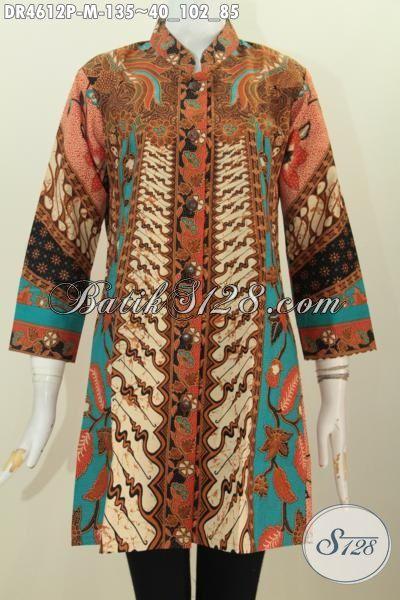 Dress Batik Modis Istimewa Motif Klasik Sinaran, Pakaian Batik Halus Trend Terbaru Dengan Harga Terjangkau Proses Printing, Size M