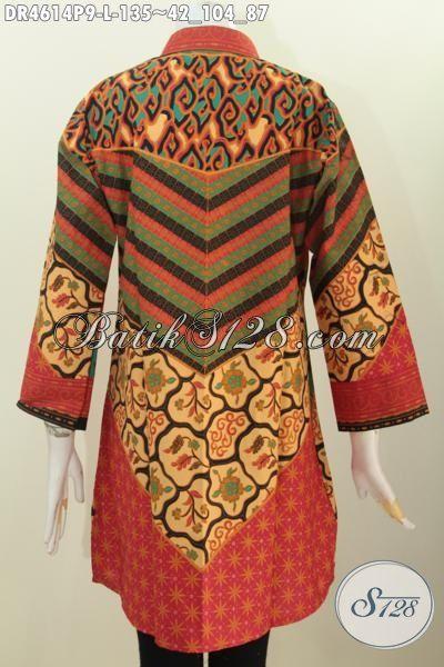 Jual Baju Kerja Model Dress Berbahan Batik Printing Motif Sinaran, Busana Batik Modis Desain Mewah Trend Terkini Penunjang Penampilan Wanita Lebih Sempurna [DR4614P-L]
