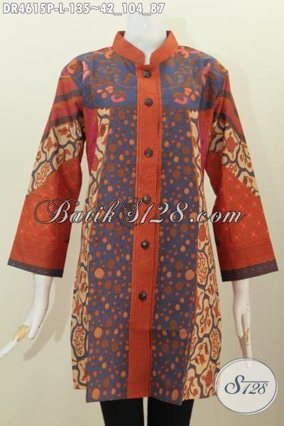 Dress Batik Solo Seragam Kerja Wanita Karir Masa Kini, Produk Busana Batik Berkelas Motif Sinaran Proses Printing Yang Modis Buat Kerja Serta Elegan Buat Kondangan, Size L