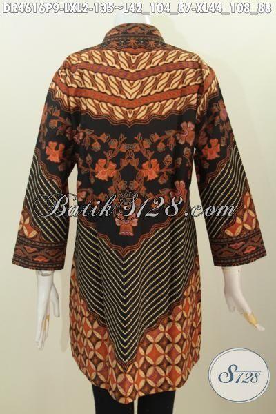 Dress Batik Motif Klasik, Pakaian Batik Perempuan Muda Dan Dewasa Karir Aktif, Baju Batik Fashion Motif Sinaran Proses Printing Untuk Penampilan Lebih Berkelas, Size L – XL
