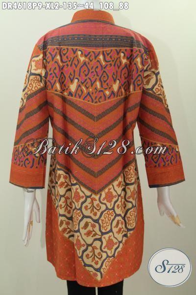 Baju Batik Model Dress Motif Klasik Sinaran Proses Print, Pakaian Batik Modis Buatan Solo Untuk Baju Kerja Dan Acara Formal, Size XL