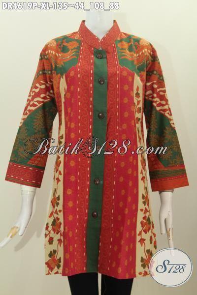 Baju Dress Batik Motif Sinaran Buatan Solo, Busana Batik Print MOdern Model Kancing Depan Kwalitas Bagus Hanya 135K, Size XL
