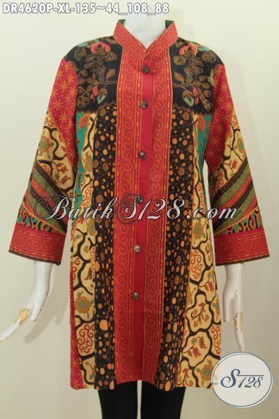 Dress Batik Wanita Dewasa Ukuran XL, Pakaian Batik Motif Sinaran Berbahan Halus Proses Printing Asli Buatan Solo Pas Banget Cocok Untuk Acara Yang Spesial