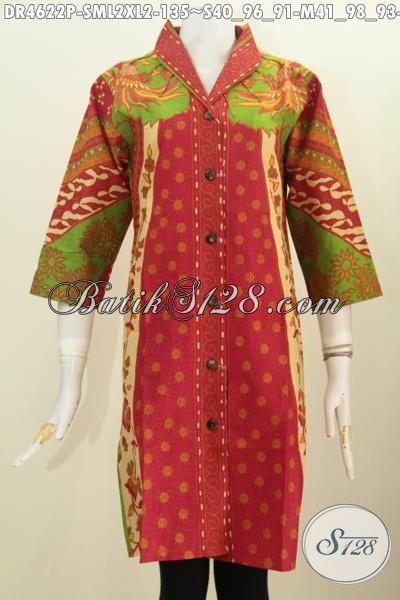 Baju Batik Formal Untuk Wanita, Pakaian Batik Modis Istimewa Buatan Solo Indonesia, Produk Pakaian Batik Dress Kancing Depan Motif Sinaran Proses Printing 100 Ribuan, Size S – M – L – XL