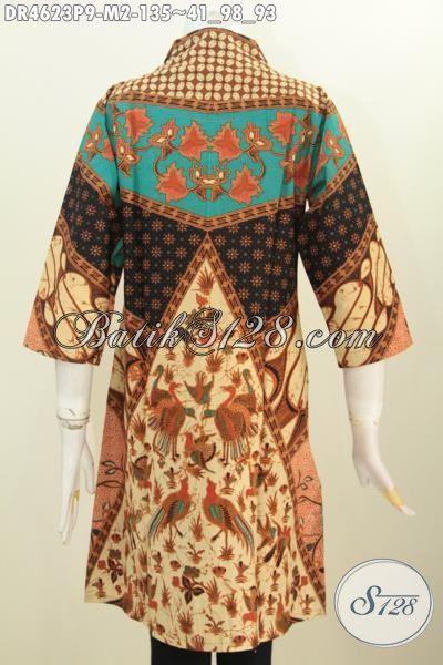Baju Dress Batik Ukuran M Motif Sinaran Berbahan Halus Harga 135K, Pakaian Kerja Batik Wanita Muda Kwalitas Istimewa Proses Printing Untuk Tampil Istimewa