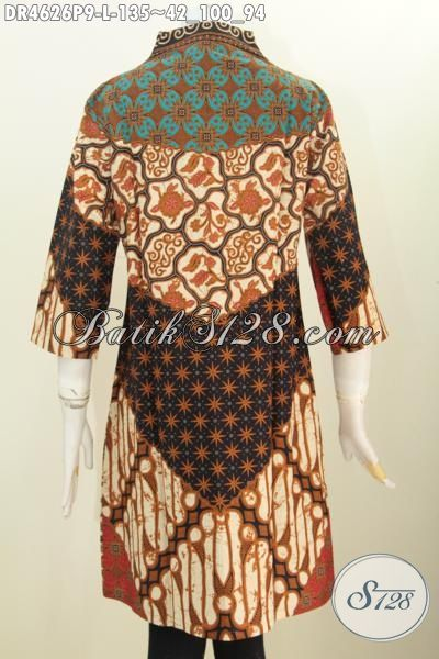 Pakaian Dress Batik Modern Desain Berkelas Motif Sinaran Proses Printing, Baju Batik Jawa Etnik Kwalitas Istimewa Bikin Penampilan Lebih Sempurna, Size L