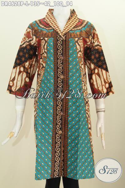 Agen Pakaian Batik Online Terkenal, Sedia Dress Kancing Depan Berbahan Batik Printing Motif Sinaran Proses Print Cocok Buat Kerja Dan Acara Formal, Size L