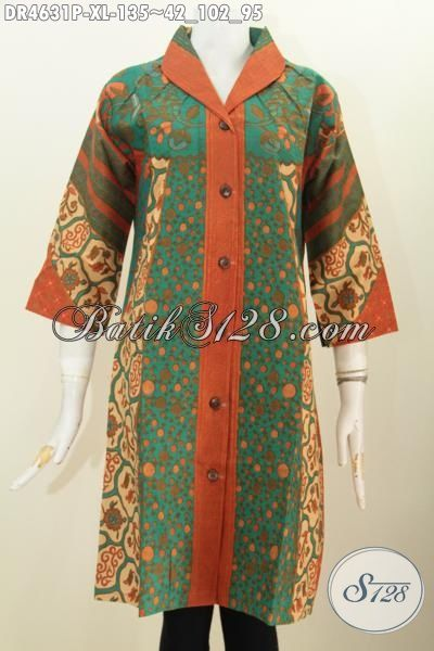 Di Jual Online Baju Dress Sinaran Model Kancing Depan Trend Masa Kini, Pakaian Batik Modis Proses Printing Buatan Solo Penunjang Penampilan Lebih Mempesona, Size XL