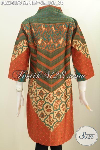 Busana Wanita Model Dress Desain Terkini, Pakaian Batik Modern Halus Motif Klasik Sinaran, Batik Kerja Berkelas Proses Printing Harga 135K Bisa Tampil Mempesona [DR4631P-XL]