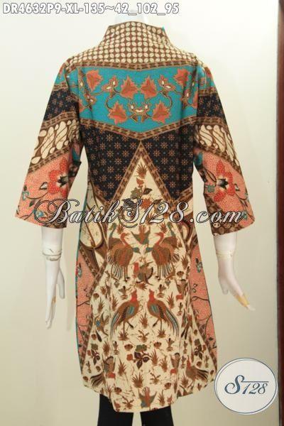 Dress Batik Elegan Seragam Kerja Kantoran Tampil Mewah, Busana Batik Jawa Terkini Bahan Halus Motif Sinaran Kwalitas Bagus Harga Sangat Terjangkau, Size XL