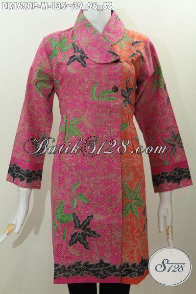Bati Dress Model Terkini Dengan Kerah Miring Dan Warna Kombinasi, Busana Batik Istimewa Untuk Wanita Karir Muda Tampil Lebih Mempesona, Size M