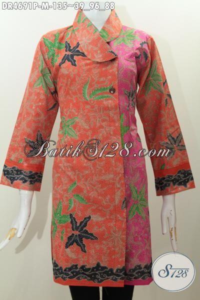 Dress Batiik Modern Dengan Desain Kerah Miring Berpadu Kombinasi Dua Warna Dan Keren, Baju Batik Motif Trendy Proses Print Untuk Tampil Elegan Dan Anggun, Size M