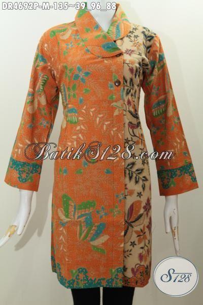 Baju Dress Batik Kwalitas Bagus Hadir Dengan Model Kerah
