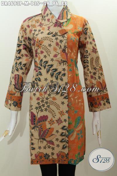 Produk Terbaru Pakaian Batik Wanita Muda, Baju Kerja Batik Istimewa Desain Keren Kerah Miring Kombinasi Dua Warna Proses Printing Modis Buata Acara Formal, Size M