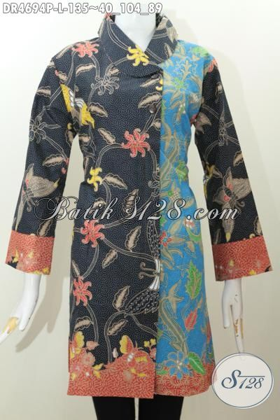 Jual Produk Baju Batik Model Dress Kerah Miring Istimewa, Busana Batik Keren Dan Elegan Kombinasi Dua Warna, Baju Batik Modis Berkelas Proses Printing Harga Hanya 135K, Size L