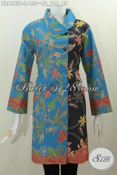 Batik Dress Dua Warna Nan Istimewa, Pakaian Batik Modern Berbahan Halus Model Kerah Miring Size L Untuk Kerja Bisa Rapat Juga Cocok