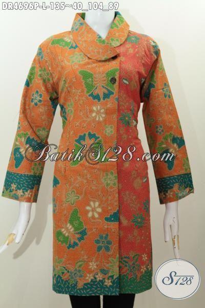 Jual Pakaian Batik Dress Model Terbaru Dengan Kerah Miring Dan Warna Kombinasi, Baju Batik Istimewa Proses Printing Kwalitas Halus Untuk Penampilan Terlihat Mewah [DR4696P-L]