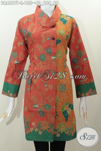 Jual Pakaian Batik Wanitas Terbaru, Produk Baju Batik Istimewa Berbahan Adem Motif Trendy Proses Printing Dengan Desain Kerah Miring dua Kombinasi Warna, Size L