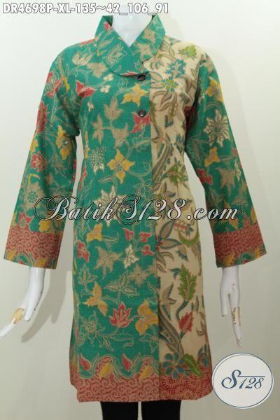 Batik Dress Motif Bagus Kwalitas Istimewa, Busana Batik Keren Halus Motif Trendy Model Kerah Miring Dua Kombinasi Warna, Size XL Cocok Buat Wanita Dewasa