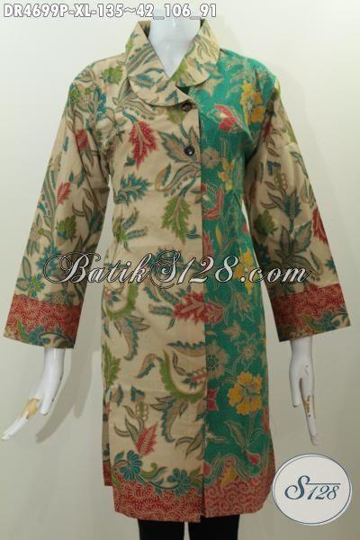 Pakaian Dress Dua Kombinasi Warna, Produk Baju Batik Wanita Desain Formal Kerah Miring Elegan Motif Bagus Proses Printing Istimewa Tampil Makin Istimewa, Size XL