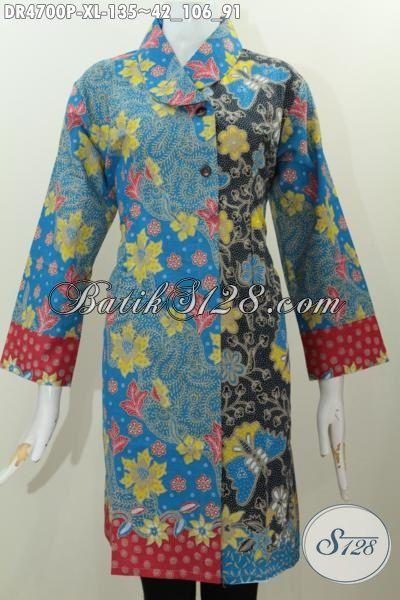 Dress Batik Motif Bunga Warna Biru Kombinasi Hitam, Pakaian Batik Berkelas Model Kerah Miring Untuk Penampilan Lebih Modis Terlihat Istimewa, Size XL