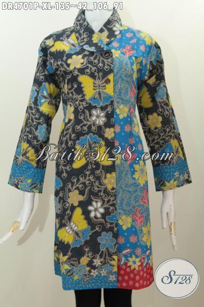 Jual Dress Batik Istimewa Berbahan Istimewa Kwalitas Halus, Pakaian Batik Formal Kerah Miring Seragam Kerja Nan Elegan Dengan Kombinasi Dua Warna Motif Bunga Printing, Size XL