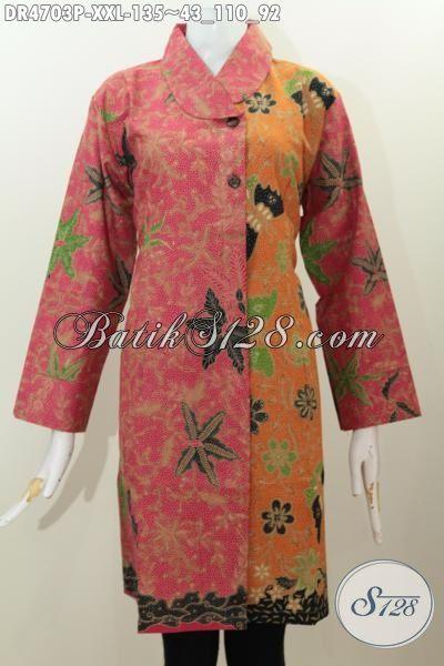 Pakaian Dress Batik Terbaru Untuk Perempuan Gemuk, Baju Kerja Batik Proses Printing Model Kerah Miring Warna Kombinasi [Dr46703P-XXL]