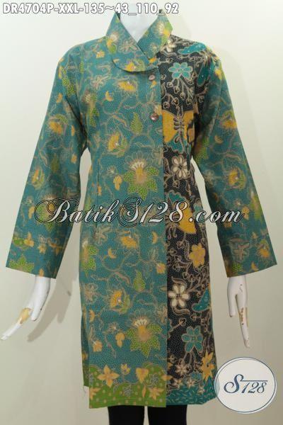 Dress Batik Dual Warna Istimewa Berbahan Halus Kwalitas Istimewa, Pakaian Batik Dress Trendy Model Kerah Miring Buat Cewek Gemuk Tampil Modis Dan Terlihat Mempesona, Size XXL