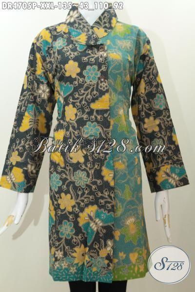 Baju Batik Dress Ukuran Jumbo Kwalitas Bagus, Busana Batik Solo Model Kerah Miring Dua Warna Untuk Tampil Lebih Anggun Dan Cantik Maksimal, Size XXL