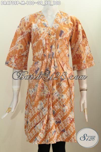 Sedia Pakaian Dress Batik Kerah Miring Dua Kombinasi Warna, Baju Batik Modis Kwalitas Istimewa Proses Printing Tampil Gaya Setiap Hari, Size M