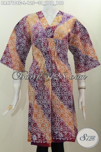 Dress Batik Kerah Miring Buatan Solo Indonesia, Baju Batik Jawa Tengah Kwalitas Bagus Untuk Tampil Modis, Pakaian Batik Dua Kombinasi Warna Ukuran L