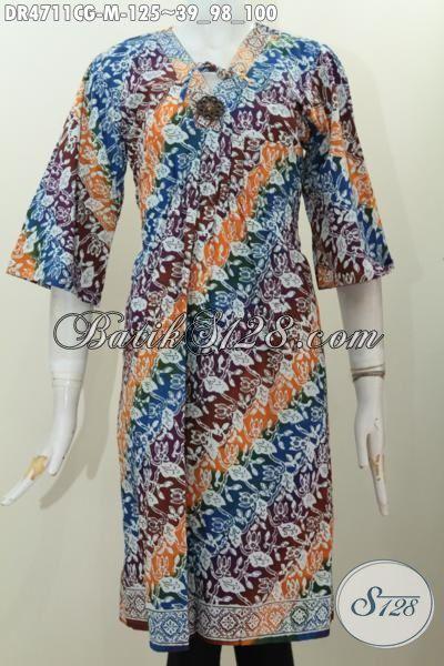 Dress Batik Parang Warna Gradasi Busana Batik Cap Kwalitas Bagus Berbahan Halus Desain Istimewa Untuk Penampilan Lebih Modis Dan Menawan [DR4711CG-M]