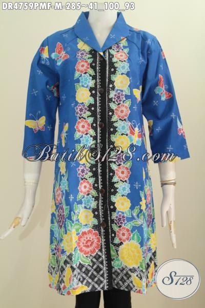 Dress Batik Keren Model Terkini Dengan Daleman Full Furing Tricot, Baju Batik Kombinasi Tulis Warna Bagus Motif Bunga Tampil Mempesona, Size M