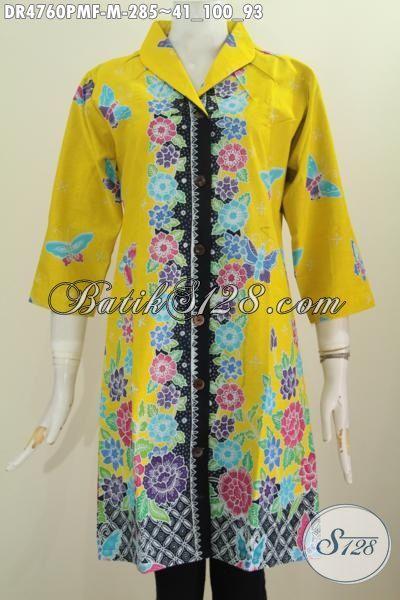Baju Dress Batik Istimewa Warna Dasar Kuning Motif Bunga Proses Kombinasi Tulis, Pakaian Batik Wanita Muda Untuk Penampilan Terlihat Modis Dan Mewah, Size M