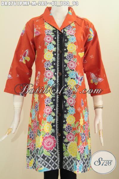 Batik Dress Orange Desain Terkini Daleman Pake Furing Tricot, Baju Batik Modis Motif Bunga Proses Kombinasi Tulis Cocok Untuk Kerja Dan Pesta [DR4761PMF-M]