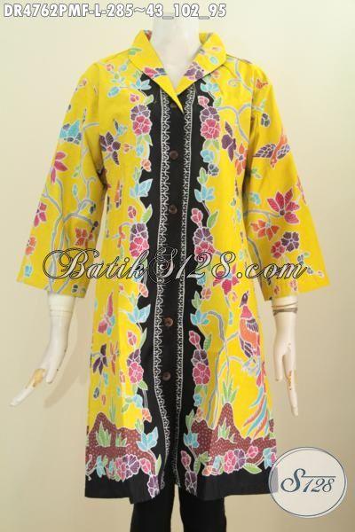 Dress Batik Warna Kuning Motif Bunga Proses Kombinasi Tulis, Busana Batik Fashion Wanita Muda Dan Dewasa Untuk Penampilan Makin Istimewa, Berbahan Halus Proses Kombinasi Tulis Kwalitas Premium [DR4762PMF-L]